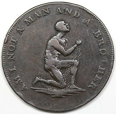 (1790s) Great Britain Halfpenny Token, Am I Not a Man & a Brother, VF-XF