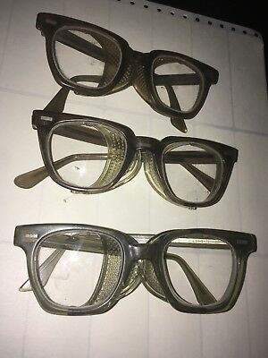 3 Vintage Cesco Safety Goggles / Glasses  Glass Lenses With Side Shields