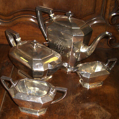 $1250 Art Deco Dugan 4 Piece Sterling Silver Tea & Coffee Set