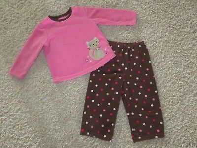 CARTER'S Brown Pink Polka Dot Cat Fleece PJs Pajama Set TODDLER GIRLS 2T