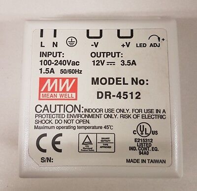 New Mean Well 45W Din 12V 3.5A Rail Switch Power Supply Dc Dr-4512 Mp3190 E23416
