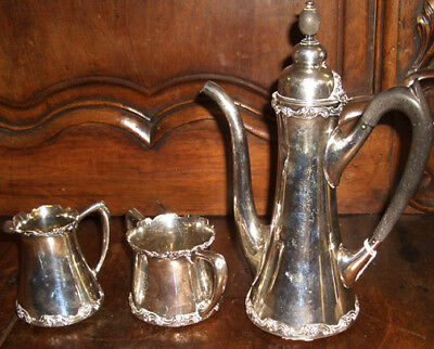 $575 3 Piece Art Deco Wallace Sterling Silver Coffee or Chocolate Set