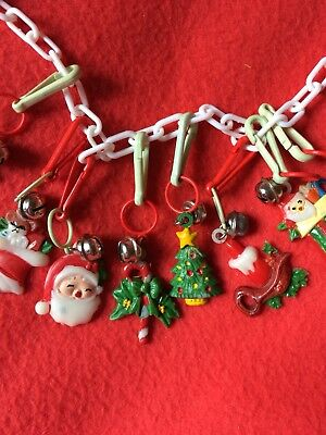 Lot Of Christmas Theme Plastic Clip Charms With Bells And Link Necklace