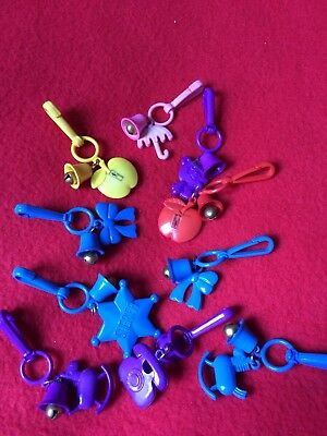 Lot Of 10 Vintage 80's Plastic Clip On Charms With Bells Made By Russ