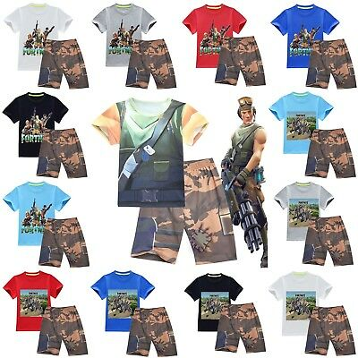 Fortnite Game Costume Cosplay Casual Pyjamas T shirt +Pants Outsets Outfit 4-13Y