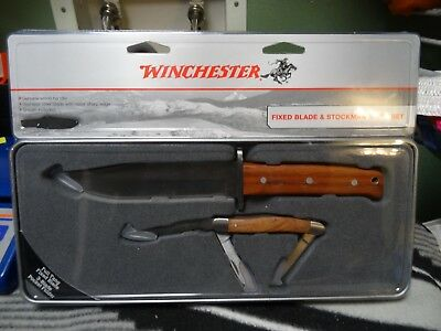 WINCHESTER Fixed Blade & Stockman 3 Blade Knife Set w/Tin Case Gift Set NEW