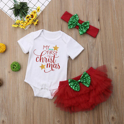 3PCS Newborn Baby Girl Xmas Outfits Clothes Tops Romper+Tutu Shorts Pants Set AU