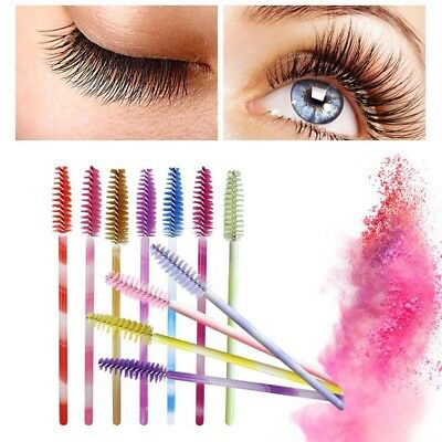 50Pcs/lot Colorful Handle Disposable Mascara Wands Applicator Eyelash Brush