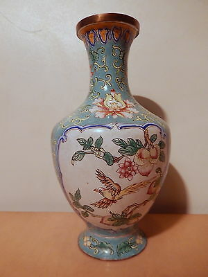 Vase chinese brass enamelled pattern flower bird China