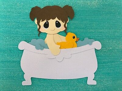 Girl in bath tub fully assembled paper piecing / die cut