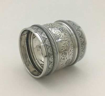 Fine East Lake Style Engraved Aesthetic Gorham 1880 Sterling Silver Napkin Ring