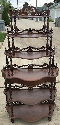 Antique Etagere Walnut Mid Victorian Shelves Display Fretwork Valances 1850/1875