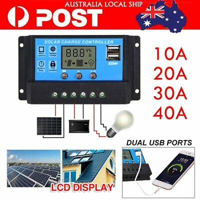 12V/24V 10A -40A Solar Panel Battery Regulator Charge Controller PWM LCD Display
