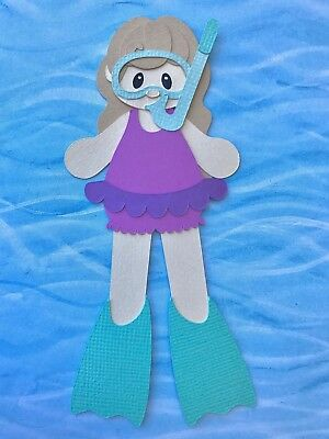 Fully assembled Snorkeling Girl - light hair - paper piecing / die cut