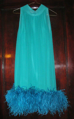Vintage 60s Mod Dress for Display Teal Chiffon Sleeveless Shift Ostrich Feathers
