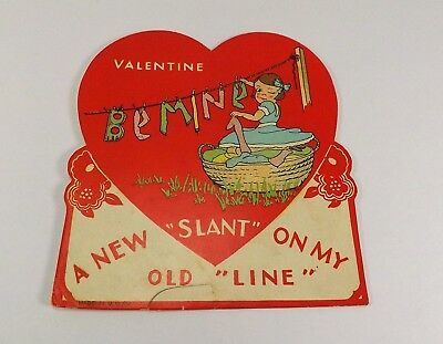 """Vintage 1940's Valentine Card Girl Hanging Letters """"Be Mine"""" on Clothes Line 4x4"""