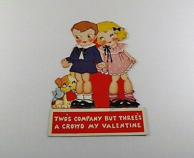 "Vintage 1940's Valentine Card Boy & Girl Holding Hands w/Puppy 5 1/8"" x 3 1/2"""""