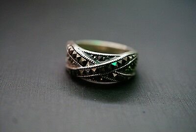 Beautiful Antique Sterling Silver Marcasite 925 Band Ring!! (#2184)