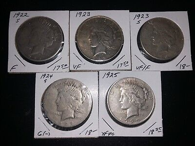 A lot of 5 Silver Peace Dollars FREE SHIPPING