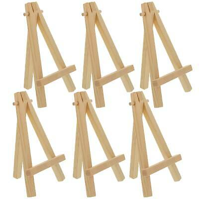 "6 Pack of Mini Wood 8"" Tabletop Art Craft Display Easels NATURAL Wooden Finish"