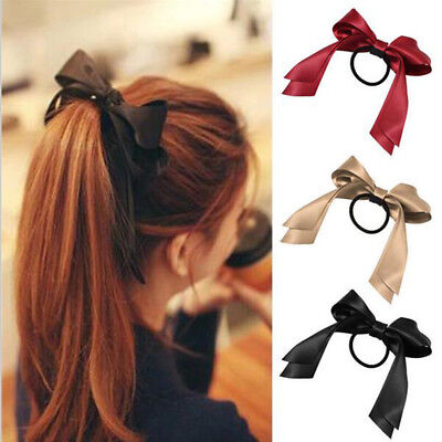 1pc Women Tiara Satin Bow Tie Scrunch Girl for Accessories Rings Rope Holder