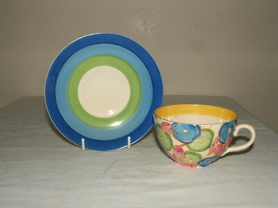 Clarice Cliff Art Deco Hand Painted Bizarre Blue Chintz Cup & Saucer Stunning
