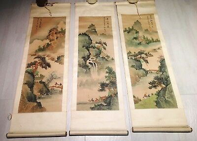 VINTAGE - CHINESE  HAND PAINTED SCROLLS x 3 - $180 the lot