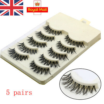 UK 5 Pairs False Eyelashes Set Natural Long Thick Fake Eye Lashes Extension ZY