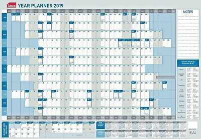 Sasco 2019 Year Yearly Wall Planner Blue White 870 x 610mm With Pen Kit 10580/19