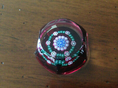 Perthshire Millefiori Faceted Ruby Paperweight - Miniature