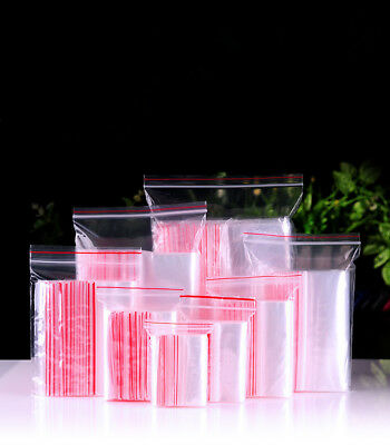 100× Small Clear Grip Self Press Seal Resealable Polythene Zip Lock Plastic Bags
