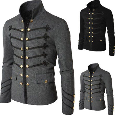 Men Vintage Gothic Brocade Jacket Frock Coat Steampunk Victorian Morning Outwear
