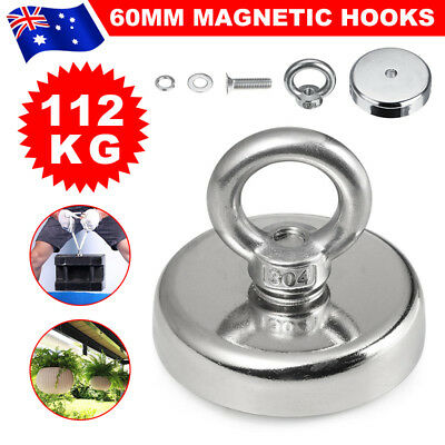 112Kg Salvage Strong Recovery Magnet Neodymium Hook Treasure Hunting Fishing60mm