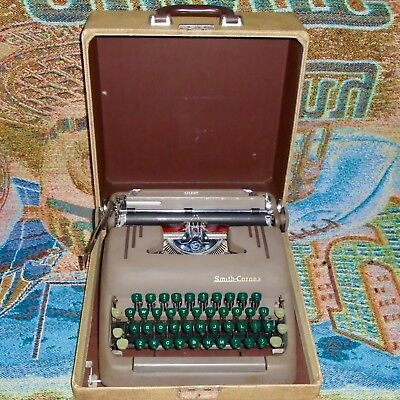 Vintage 5S Smith Corona Silent Portable Typewriter with Case - Works Great