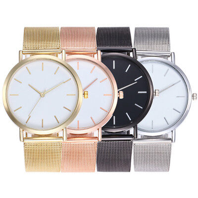 New Women Ladies Watch Gold Silver Stainless Steel Mesh Band Wrist Watches GJ