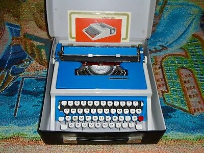 Vintage Blue Underwood 315 Portable Typewriter with Case & Manual - Works Great