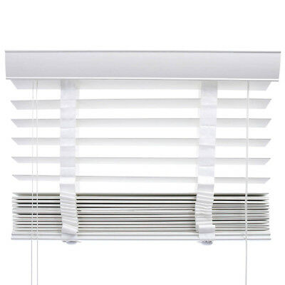 VENETIAN BLINDS PVC FAUX WOOD - 50mm SLAT & CHILD SAFE WHITE with TAPES