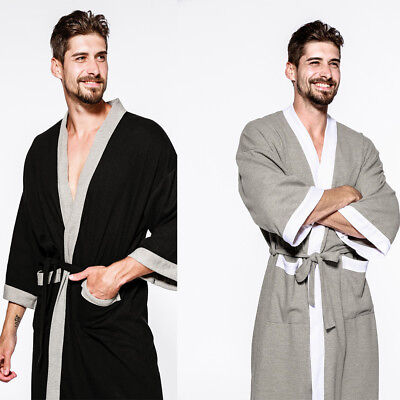 Mens Bathrobe 100% PURE Cotton Hotel Waffle Lightweight Dressing Gown Robe S-XL