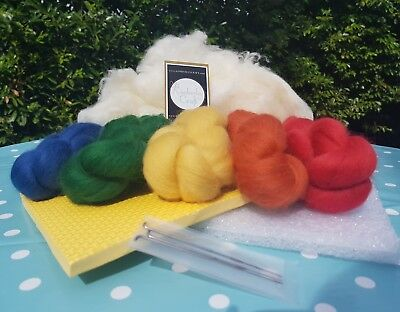 Quality Needle Felting Starter Kit. British Shetland Wool plus core wool. 200g!!