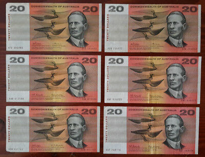 Commonwealth of Australia Circulated $20 Paper Banknotes x 6.