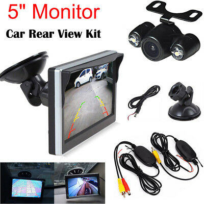 """Wireless 5"""" Monitor Car Rear View System With Backup Reverse Camera Night Vision"""