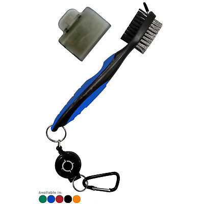 Golf Brush Club Groove Cleaner Retractable Zip-line Easily Attaches to Golf Bag
