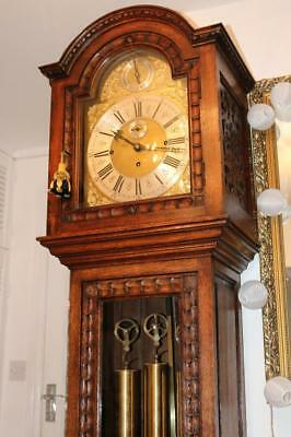 ANTIQUE GRANDFATHER CLOCK musical chimes on 8 bells or 4 gongs WEIGHT DRIVEN