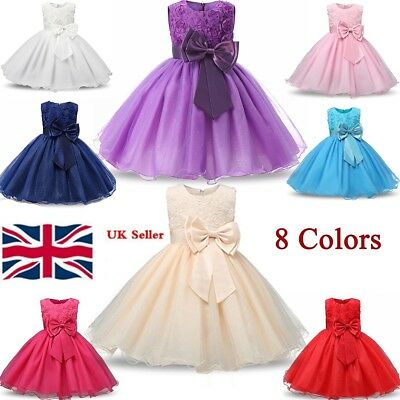 Princess Girl Bridesmaid Dress Baby Flower Kids Party Rose Bow Wedding Dresses