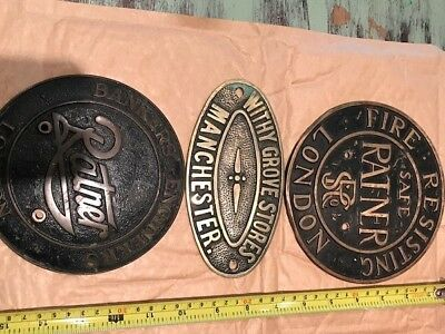 3 Brass Safe plates RATNER of London and Withy Grove Stores Manchester