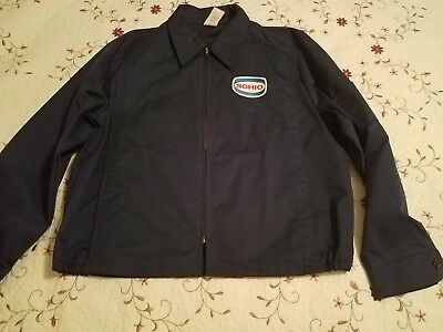 Vintage Blue SOHIO Mechanic Work Shop Jacket Garage Gas Station Unlined Large