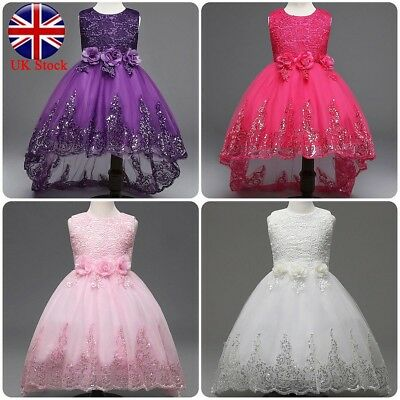 Girls Bridesmaid Kids Dress Baby Flower Party Rose Bow Wedding Dresses Princess
