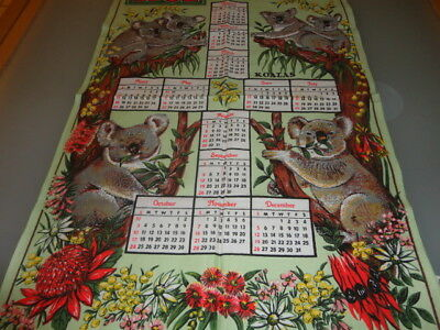 Vintage Collectible Tea Towel AUSTRALIA 1982 CALENDAR koalas and wild flowers