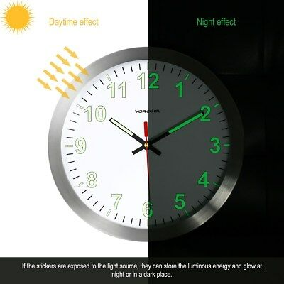 VORCOOL 30cm Wall Clock Metal Luminous Non-ticking Quartz Battery Nightlight New