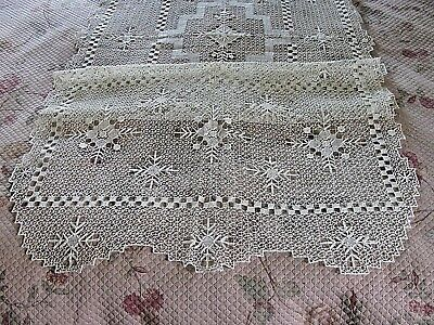 Vintage Filet Lace Net Darned Lace Handmade Table Cloth Table Runner NOS Japan